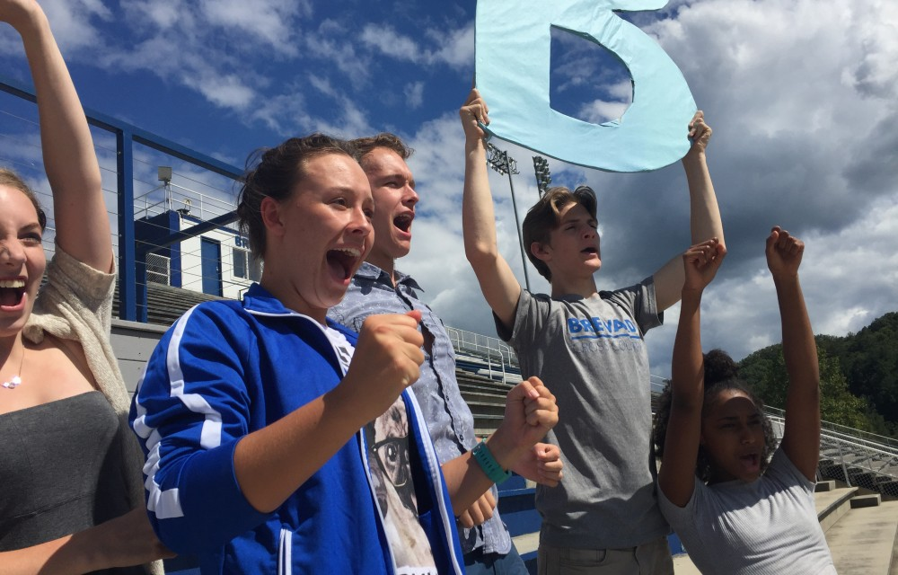 Students cheer for the Blue Devils.