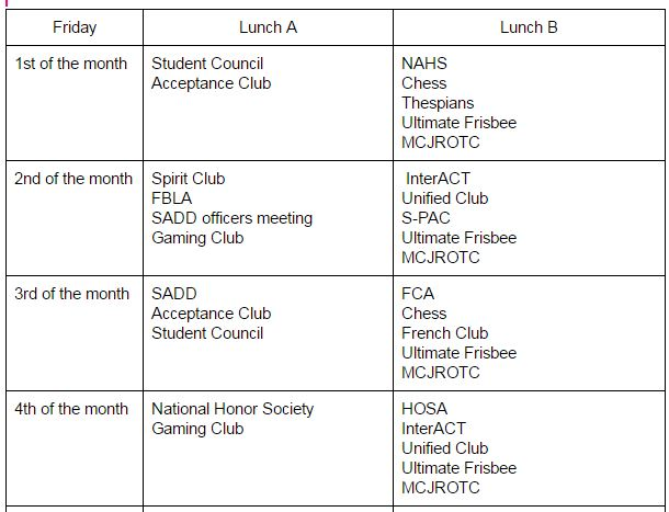 Clubs will meet at these times.