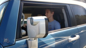Junior Noah Housman enjoys a drive.