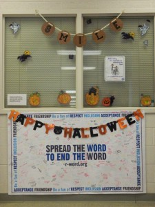The exceptional students' classroom decorations in preparation for Halloween.
