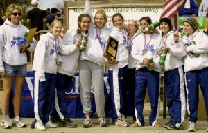 The 2001 BHS cross country team holds their state medals.